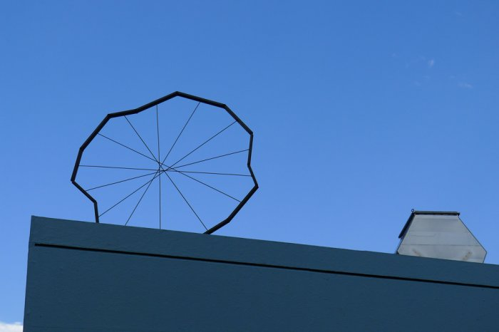 Fabian Seiz, Kurz vor der Erfindung des Rades (Re-make I), 2013, Stahl, 200x200 cm