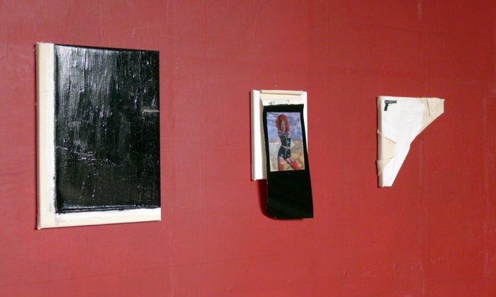 Christian Weidner, Knarre, 2013, Acryl / Papier auf Leinwand, Contemporary Girl Power, 2014, Papier / Öl auf Leinwand, Contemporary Self-Portrait, 2014, Öl auf Leinwand