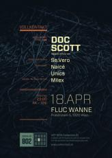 Flyer für 18 April VOLLKONTAKT pres. DOC SCOTT (31Rec./Metalheadz/UK), Special 3h Set!