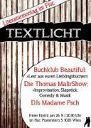 Flyer für 26 September TEXTLICHT Literaturparty