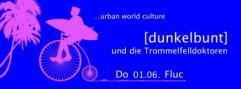 Flyer für 01 June [dunkelbunt] & die Trommelfelldoktoren